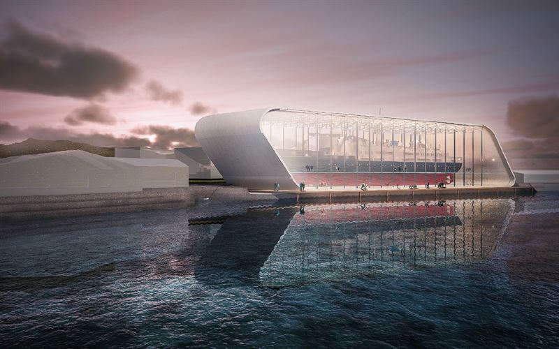 Inglasad båt. Illustration: LINK arkitektur
