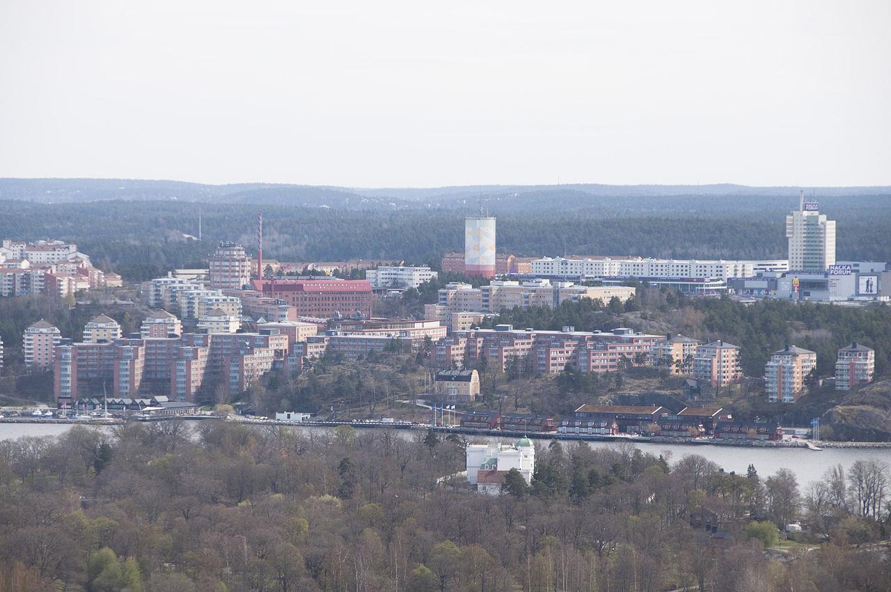 Nacka strand sett från Kaknästornet. Foto: Wikimedia