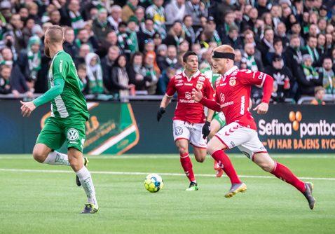 Nils Fröling, Kalmar FF, satte första målet i matchen mot Hammarby. Foto: Olav Holten / PP-Press
