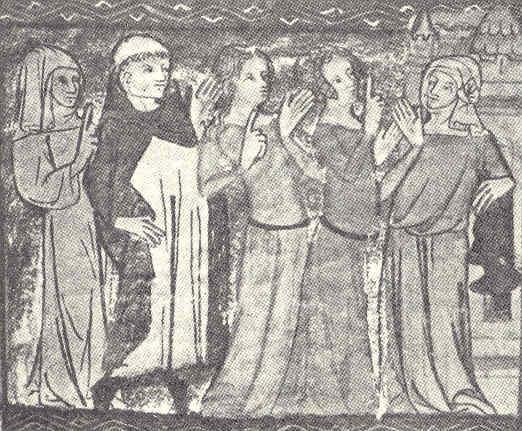 Domonikanmunk i samtal med fyra kvinnor. By Illustration ur en fransk handskrift av Roman de la Rose från 1400., Public Domain, https://commons.wikimedia.org/w/index.php?curid=3174273